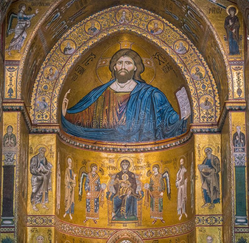 Golden mosaic in the apse of Cathedral of Monreale, in the province of Palermo. Sicily, southern Italy. The Cathedral of Monreale is a church in Monreale royalty free stock photo