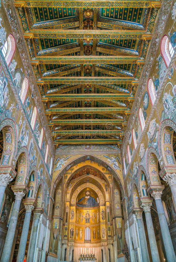 Indoor sight in the Cathedral of Monreale, in the province of Palermo. Sicily, southern Italy. The Cathedral of Monreale is a church in Monreale, Metropolitan stock photo