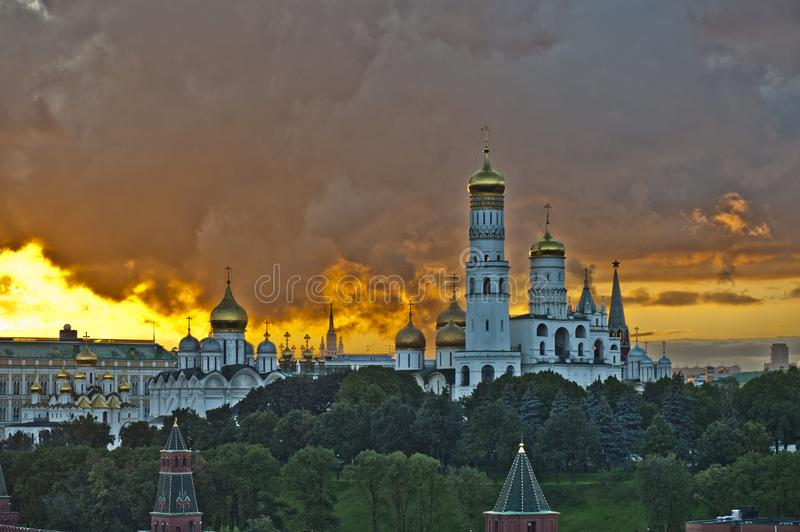 The cathedral in Moscow dusk stock photography
