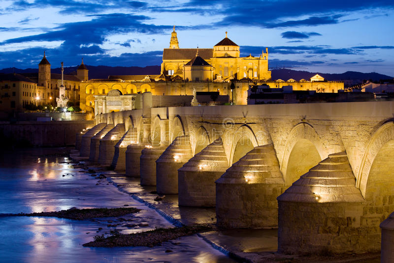 Cathedral Mosque and Roman Bridge in Cordoba stock image