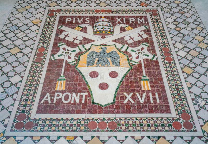 Pope Pius XI mosaic coat of arms in the Basilica of Saint John Lateran in Rome. stock photography