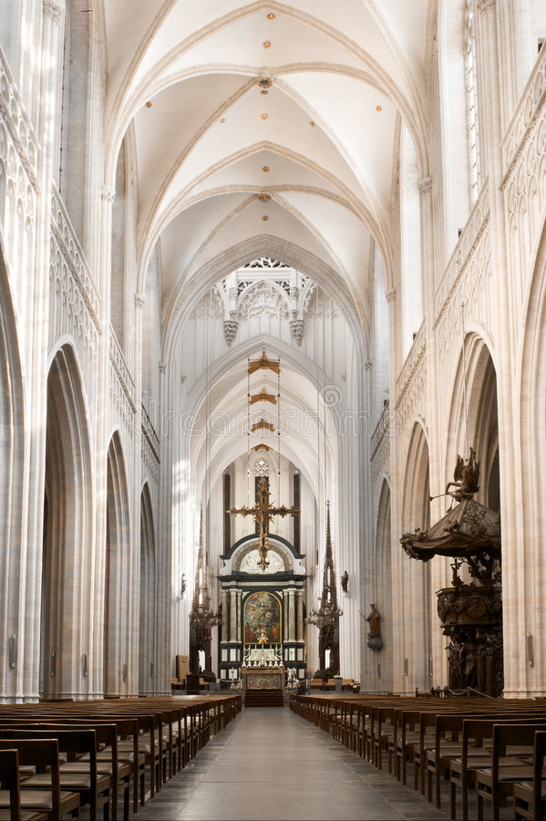 Cathedral nave. Nave and main altar with Rubens painting, Our Lady's Cathedral in Antwerp, largest gothic building in the low countries royalty free stock photography