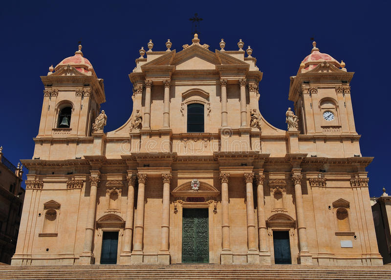 Cathedral of noto stock photography