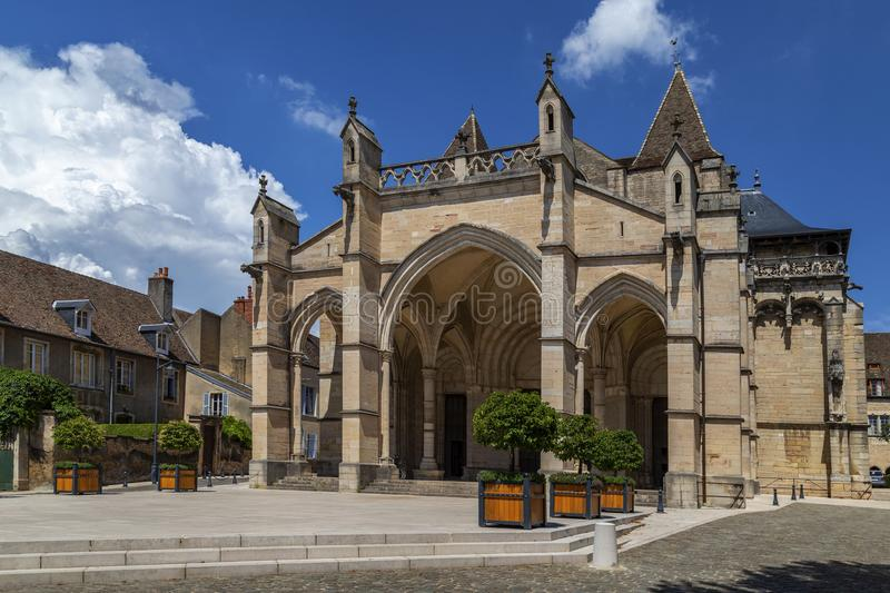 Cathedral Notre Dam - Beaune - Burgundy - France. The Cathedral Notre Dam or Collegiale Notre-Dame in the town of Beaune in the Burgundy region of eastern France stock photography