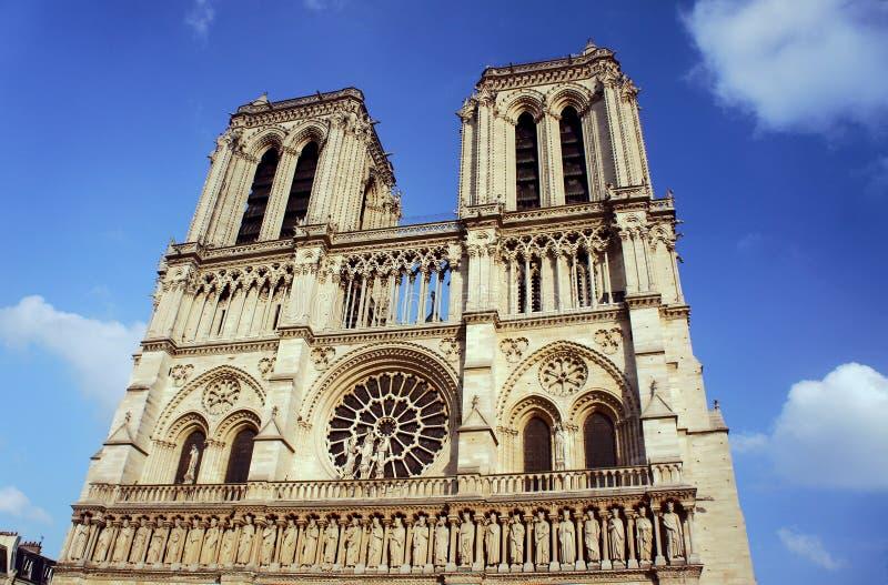 Cathedral of Notre-Dame de Paris. Gothic facade of the cathedral of Notre-Dame de Paris, France stock photo