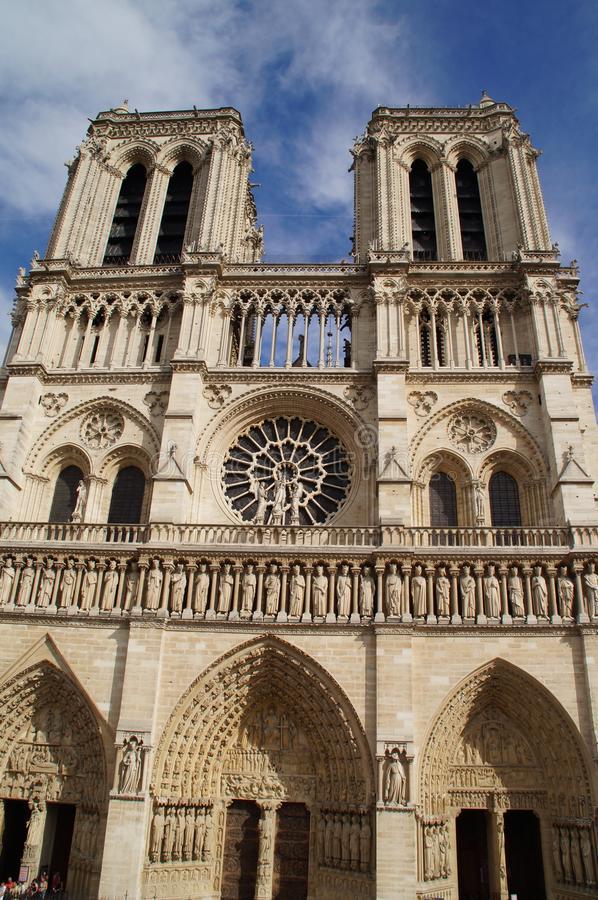 The cathedral Notre-Dame de Paris - Grip Taking of view sight outside, without character and of day. The cathedral Notre-Dame de Paris, in shape short Notre stock photo