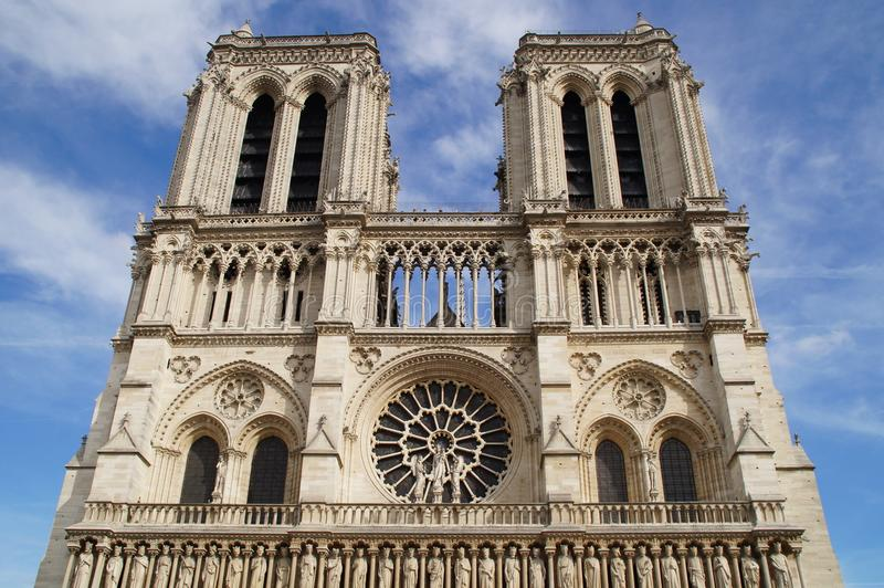 The cathedral Notre-Dame de Paris - Grip Taking of view sight outside, without character and of day. The cathedral Notre-Dame de Paris, in shape short Notre royalty free stock images
