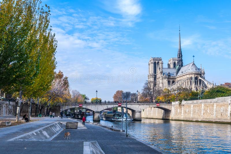 Cathedral of Notre Dame de Paris sunny autumn afternoon. Embankment of the Seine River. The natives and tourists take a walk and. Relax in warm weather. Blurred stock photography