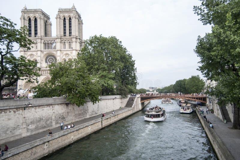 Cathedral Notre-Dame. Paris �France , Cathedral Notre-dame , the river La Seine - the island Ile de la Cite stock photos