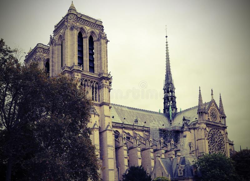 Cathedral of Notre Dame and the spire before the fire stock photo