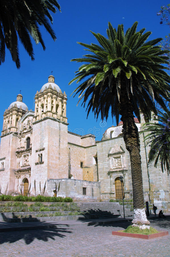 Cathedral in Oaxaca. Cathedral with palms in Oaxaca city in Mexico royalty free stock images