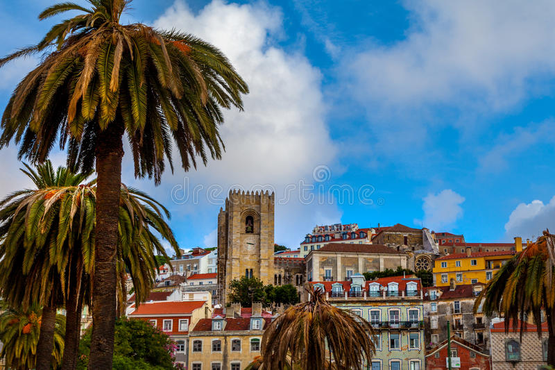 Cathedral and old buildings Lisbon. Hillside view of cathedral and old town in Lisbon Portugal stock images