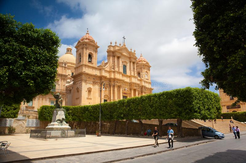 Cathedral in old town Noto, Sicily, Italy royalty free stock images