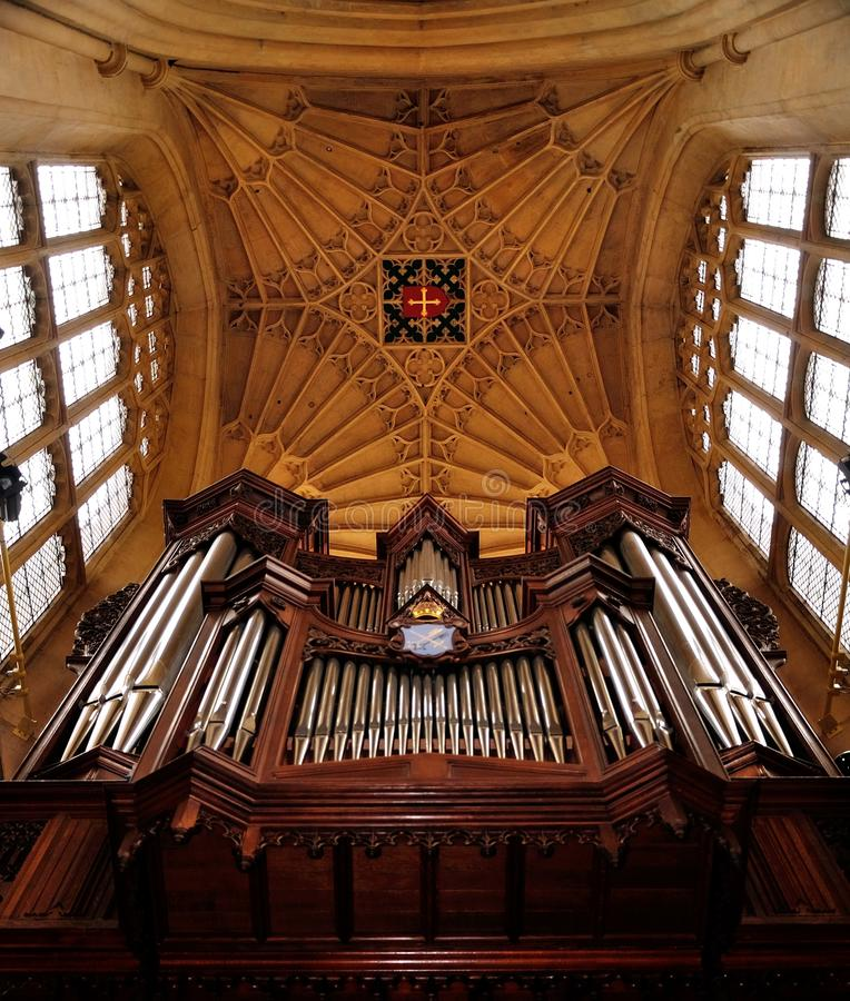 Cathedral Organ. Panoramic photos of Cathedral Interior in UK stock image