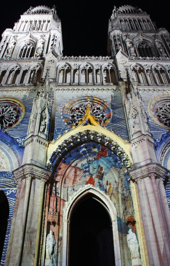 Cathedral in Orleans (France) at night royalty free stock photos