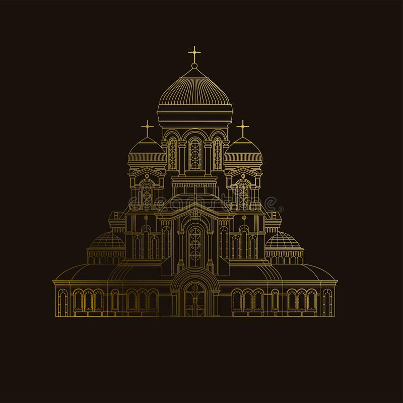 Cathedral orthodox church temple building landmark tourism world religions and famous structure traditional city. vector illustration