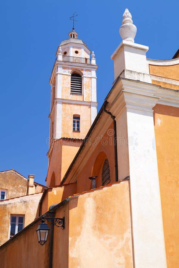 Ajaccio Cathedral, Corsica. Vertical photo. Cathedral of Our Lady of the Assumption. Ajaccio, Corsica, France. Vertical photo stock photo