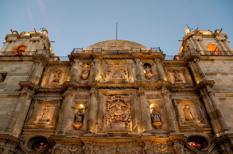 Cathedral of Oaxaca at night (Mexico). Cathedral of Our Lady of the Assumption at night, Oaxaca (Mexico royalty free stock photos