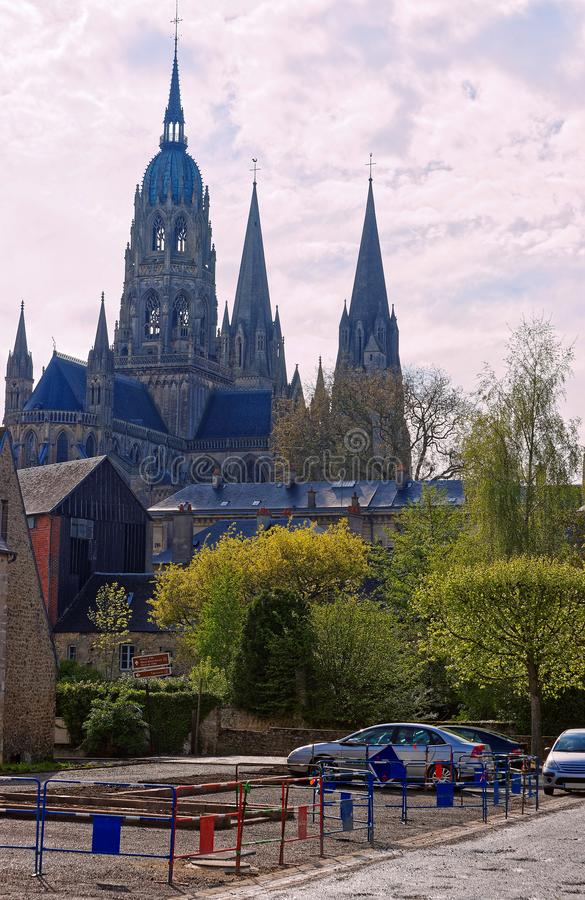 Cathedral of Our Lady of Bayeux of Calvados Normandy royalty free stock images