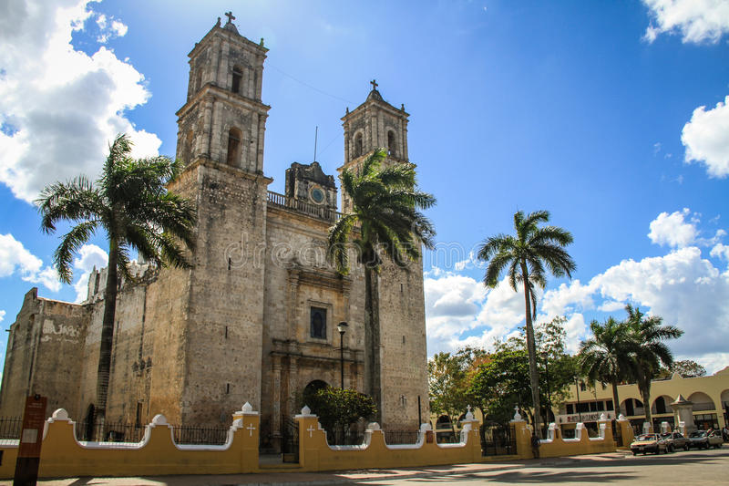 The Cathedral of Our Lady of the Holy Assumptio, Valladolid, Yucatan, Mexico royalty free stock image