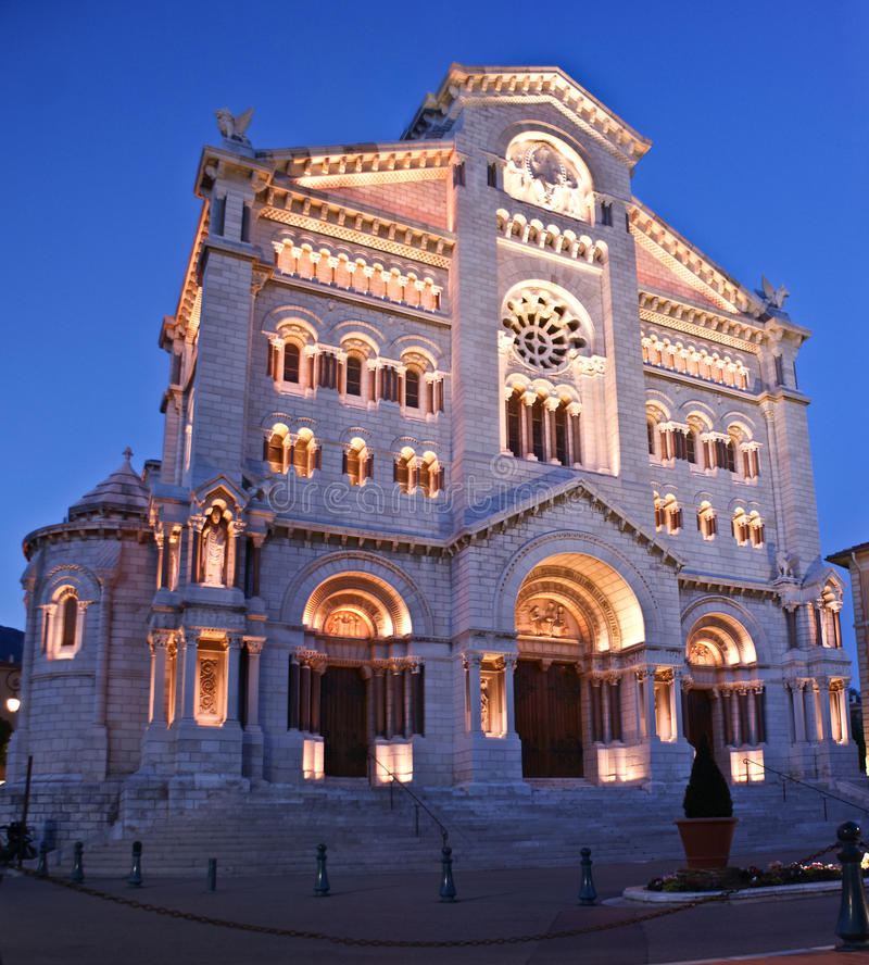 The cathedral of Monaco. The Cathedral of Our Lady of the Immaculate Conception is also known as Saint Nicholas, Monaco royalty free stock photos