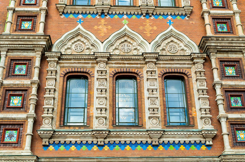 Cathedral of Our Savior on Spilled Blood in Saint Petersburg, Russia - closeup of windows of the cathedral. Decorated with architectural and sculptural royalty free stock image