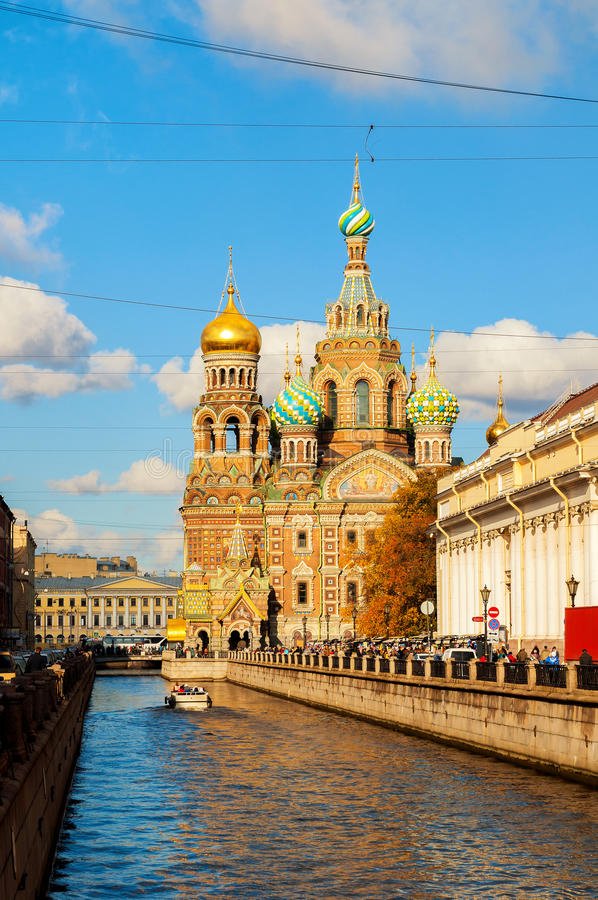 Cathedral of Our Saviour on Spilled Blood and Griboedov channel in St Petersburg,Russia -autumn sunny view royalty free stock photos