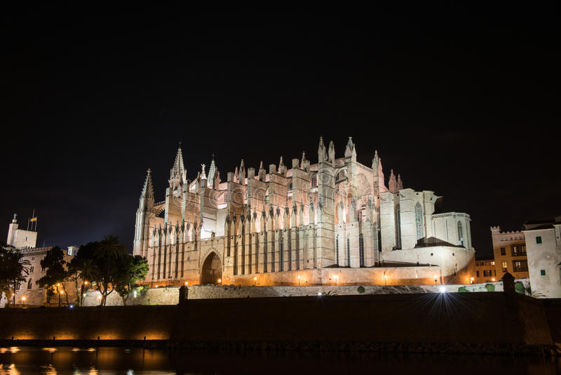 Cathedral of Palma de Majorca brightly illuminated, night shot.  royalty free stock photography