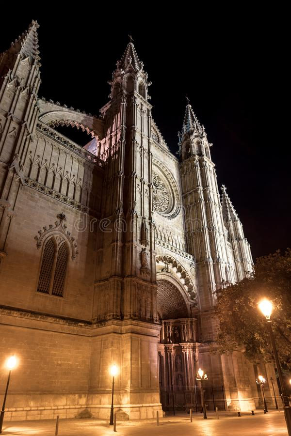 Cathedral of Palma de Mallorca at night - Spain stock photos