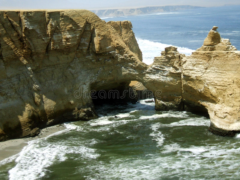 Cathedral Of Paracas, Peru. Before the earthquake in 2007. Now it is destroyed stock photo