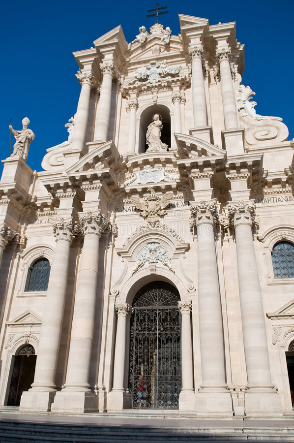 The Cathedral at the Piazza del Duomo. Located in Siracusa - Sicily, Italy stock image