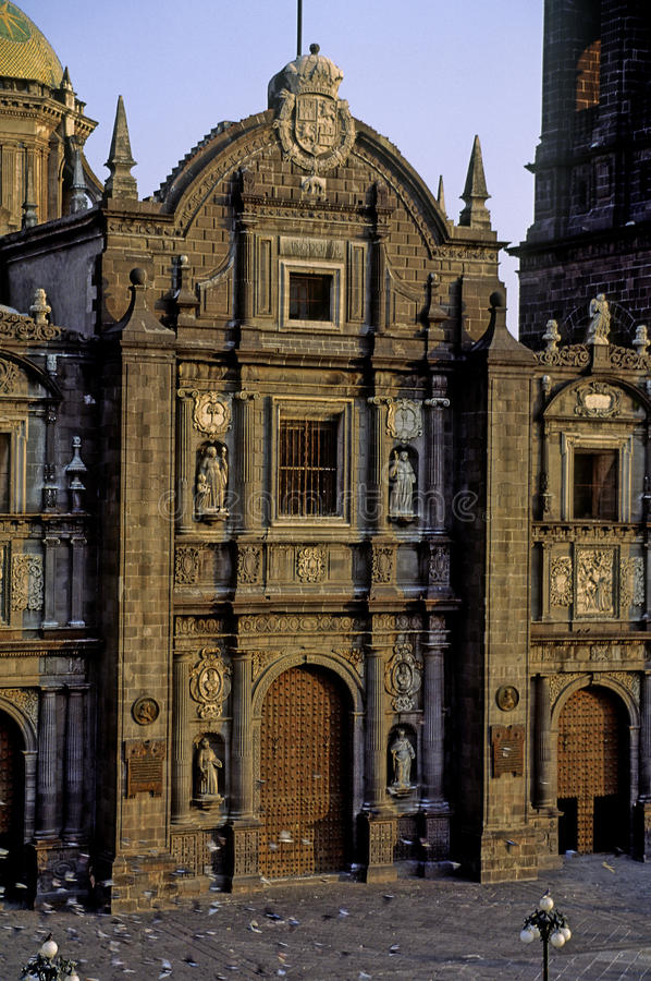 Cathedral of puebla. Central facade and main entrance of cathedral of puebla. manuel tolsa was one of most important constructors in colonial mexico he was stock photo
