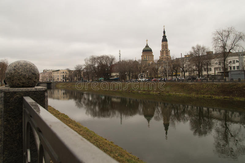 Cathedral reflected in the river royalty free stock photography