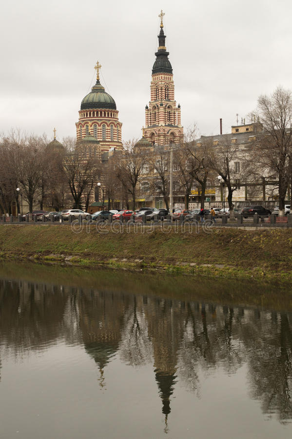 Cathedral reflected in the river stock image