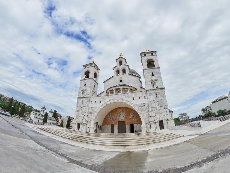 Cathedral of the Resurrection of Christ in Podgorica, Montenegro.  royalty free stock photography
