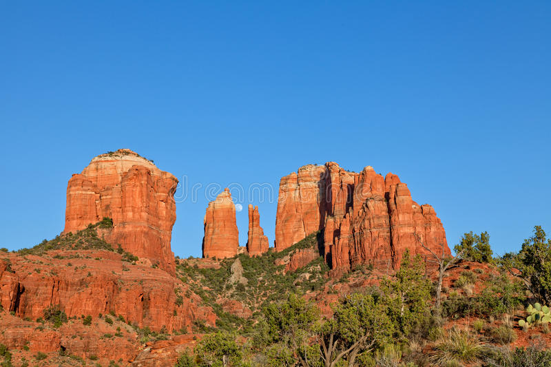 Cathedral Rock Full Moon Stock Photo