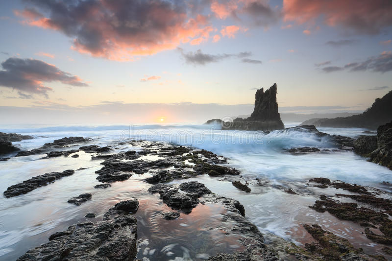 Cathedral Rock Kiama Australia. Beautiful rock formations one in the resemblance of a cathedral, and aptly named Cathedral Rock on the south coast near Kiama stock images