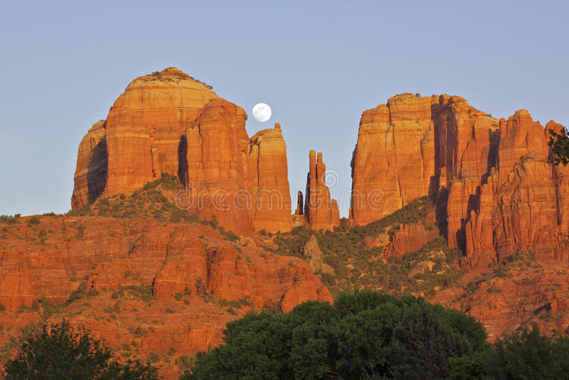 Download Cathedral Rock Moonrise stock photo. Image of landmark - 25263852