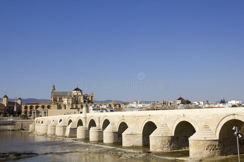 Cathedral and roman bridge. Cordoba. Overview of Cordoba Roman bridge over the Guadalquivir river and cathedral-mosque of Cordoba. Andalusia, Spain stock photos