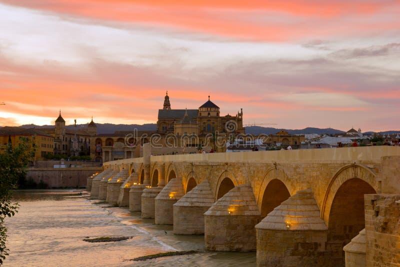 Cathedral and roman bridge, Cordoba, Spain stock image