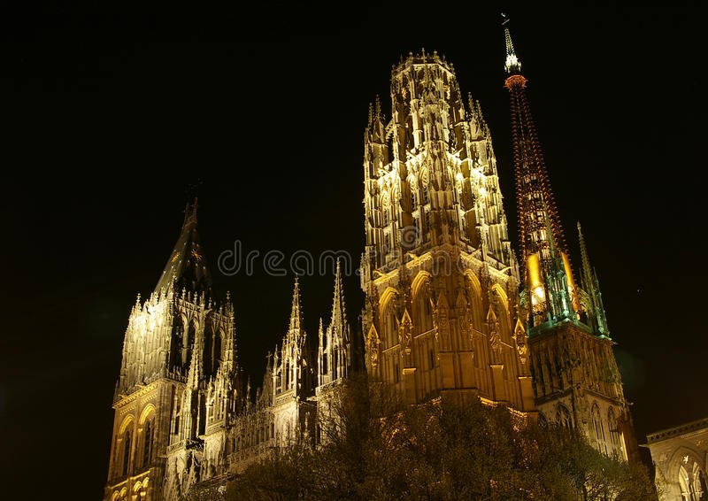 Cathedral in Rouen, France. The Cathedral of Rouen (Cathédrale Notre-Dame de Rouen) at night. It features spectacular gothic architecture. Taken April 2014 stock photos