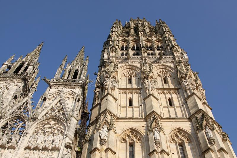 Cathedral of Rouen in Normandy stock photography