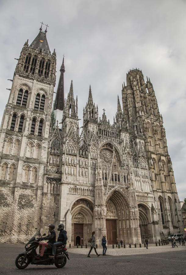 The cathedral in Rouen, Normandy, France, Europe/motorbike. royalty free stock photography