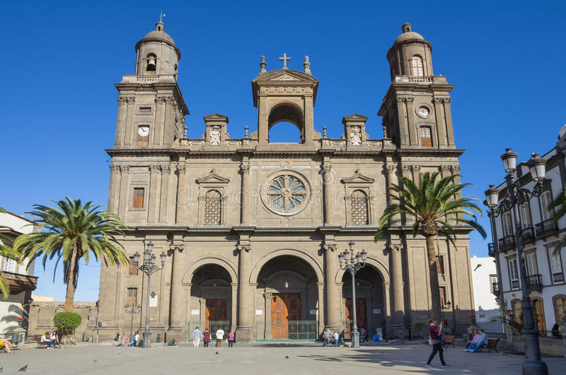 Cathedral of Saint Ana. LAS PALMAS, GRAN CANARIA, CANARY ISLANDS - JANUARY 03, 2014: The Cathedral of Saint Ana situated in the old district Vegueta in Las royalty free stock photography