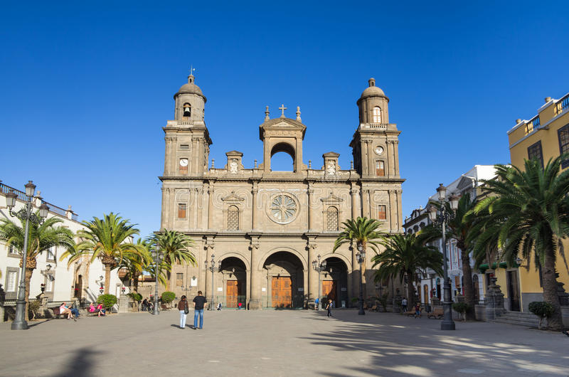 Cathedral of Saint Ana. LAS PALMAS, GRAN CANARIA, CANARY ISLANDS - JANUARY 03, 2014: The Cathedral of Saint Ana situated in the old district Vegueta in Las stock images