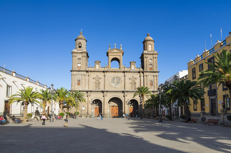 Cathedral of Saint Ana. LAS PALMAS, GRAN CANARIA, CANARY ISLANDS - JANUARY 03, 2014: The Cathedral of Saint Ana situated in the old district Vegueta in Las stock photos
