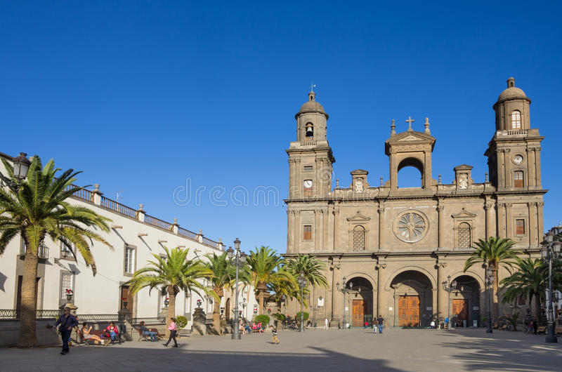 Cathedral of Saint Ana. LAS PALMAS, GRAN CANARIA, CANARY ISLANDS - JANUARY 03, 2014: The Cathedral of Saint Ana situated in the old district Vegueta in Las stock image