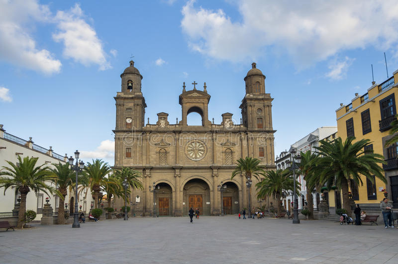 Cathedral of Saint Ana. LAS PALMAS, GRAN CANARIA, CANARY ISLANDS - JANUARY 03, 2014: The Cathedral of Saint Ana situated in the old district Vegueta in Las royalty free stock photo