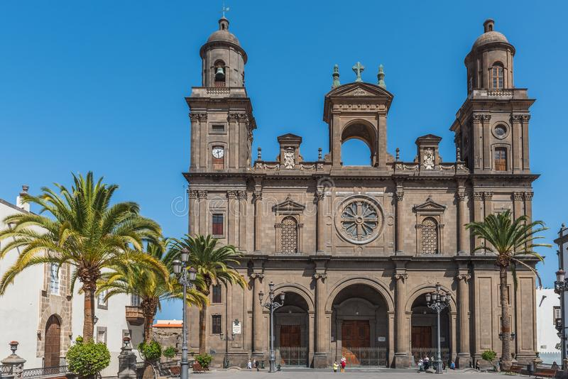 The Cathedral of Saint Ana situated in the old district Vegueta in Las Palmas de Gran Canaria, Spain.  royalty free stock image