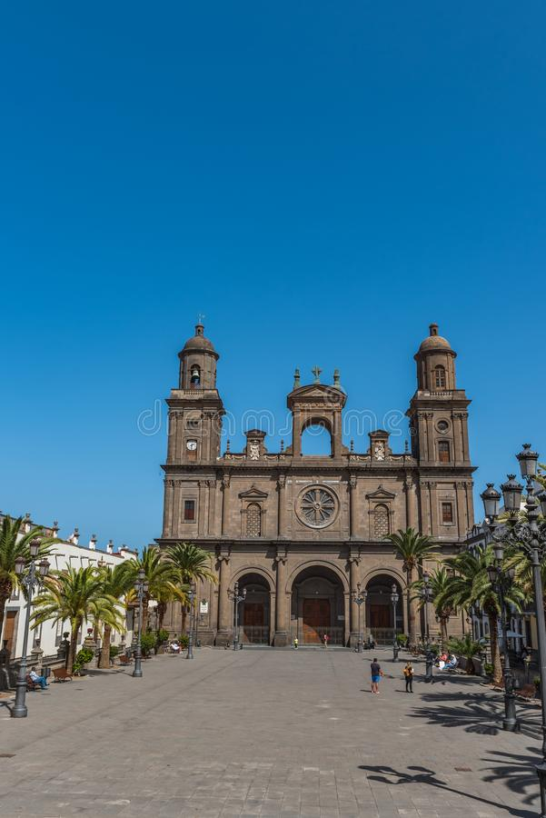 The Cathedral of Saint Ana situated in the old district Vegueta in Las Palmas de Gran Canaria, Spain. Vertical.  stock photo